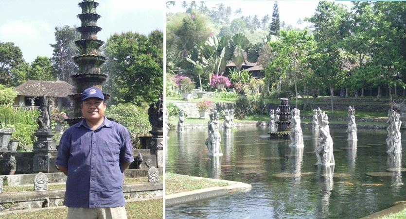 Saya di depan pancuran tinggi tinggi sebagai ikon Tirta Gangga dan Patung Dewa dan Dewi yang ada di tengah kolam air (Sumber: dokumen pribadi)