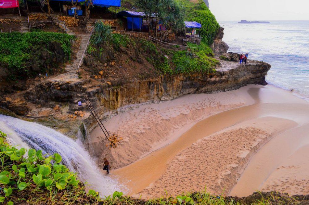 Indahnya Air Terjun Sisi Pantai Banyu Tibo Pacitan Jawa Timur