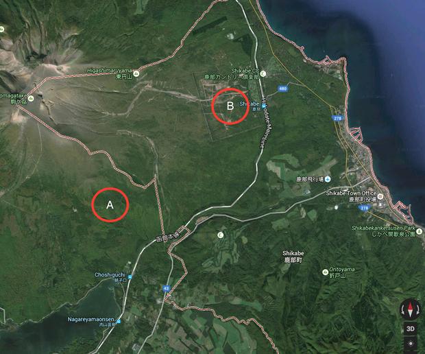 Posisi A adalah tempat terakhir Yamato hilang dan posisi B adalah lokasi tempat Yamato ditemukan oleh militer.