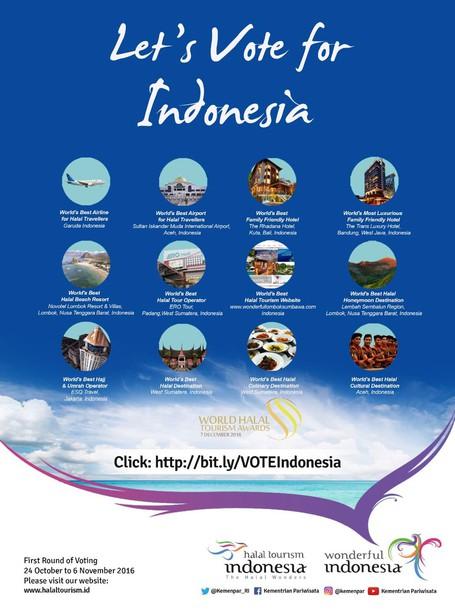 Vote Indonesia Biar jadi Pemenang Destinasi Pariwisata Halal Terbaik Sedunia