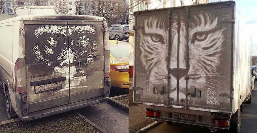 Seniman Spesialis Mural Mobil Kotor ini, Bikin Pemilik Tak Mau Mencucinya