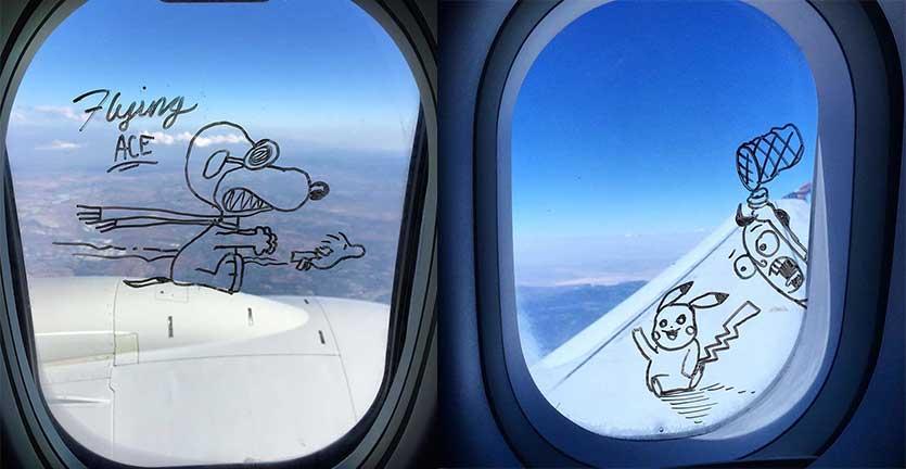 Unik, Seniman asal New York Menggambar di Jendela Pesawat