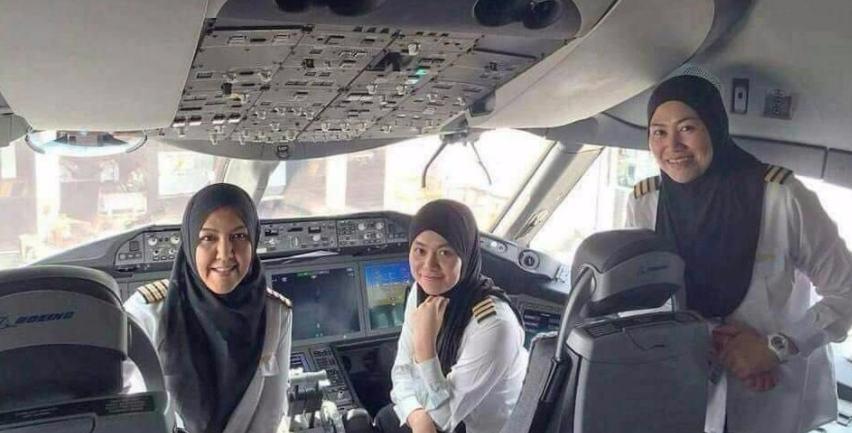 Viral 3 Pilot Perempuan Berjilbab Mengantar Jamaah Haji Asal Brunei dengan Pesawat Amfibi, Ini yang Fakta Sebenarnya